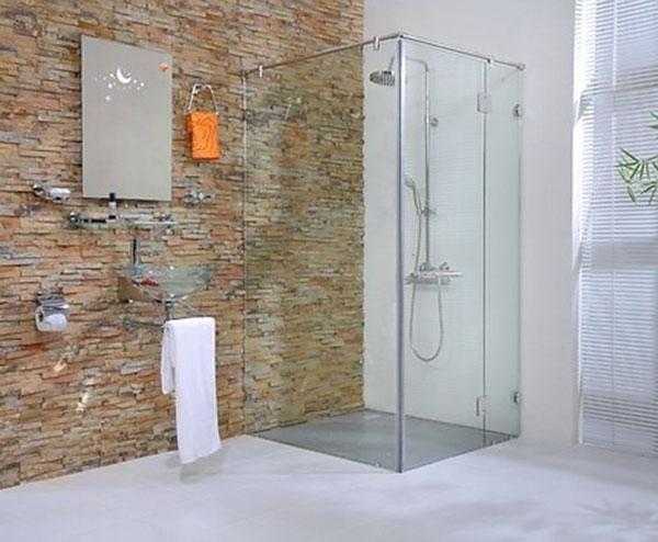 Vách kính nhà tắm trang trí cho phòng tắm hiện đại