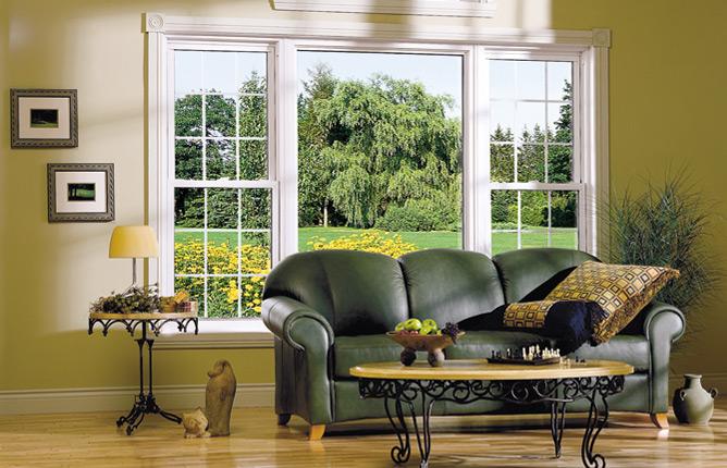 Cửa sổ phòng khách kết hợp với cánh đẩy