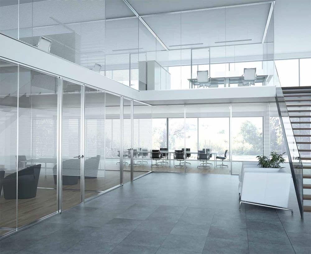 Vách ngăn kính tạo không gian cho nơi làm việc